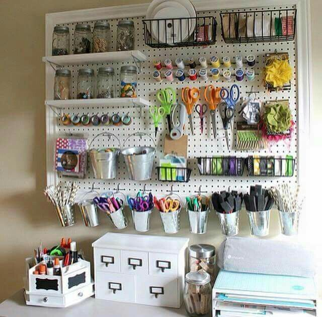 Pin by amy westhoven on home organization pinterest craft room diy craft room ideas and craft room organization projects giant peg board cool ideas for do it yourself craft storage fabric paper pens solutioingenieria Gallery