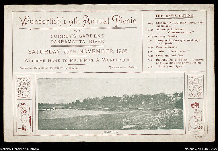 Wunderlich's 9th annual picnic Correy's Gardens, Parramatta River, Saturday 25th November, 1905.