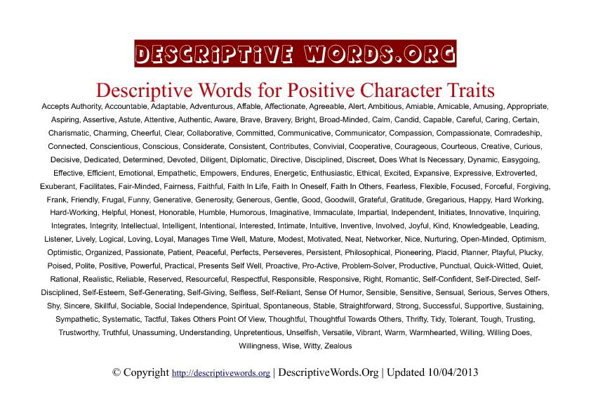Positive Character Traits Descriptive Words Wow a huge list of