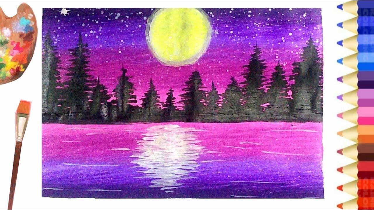 How To Painting Night Scenery With Acrylic L วาดภาพระบายส ว วกลางค น ภาพศ ลปะ งานฝ ม อ