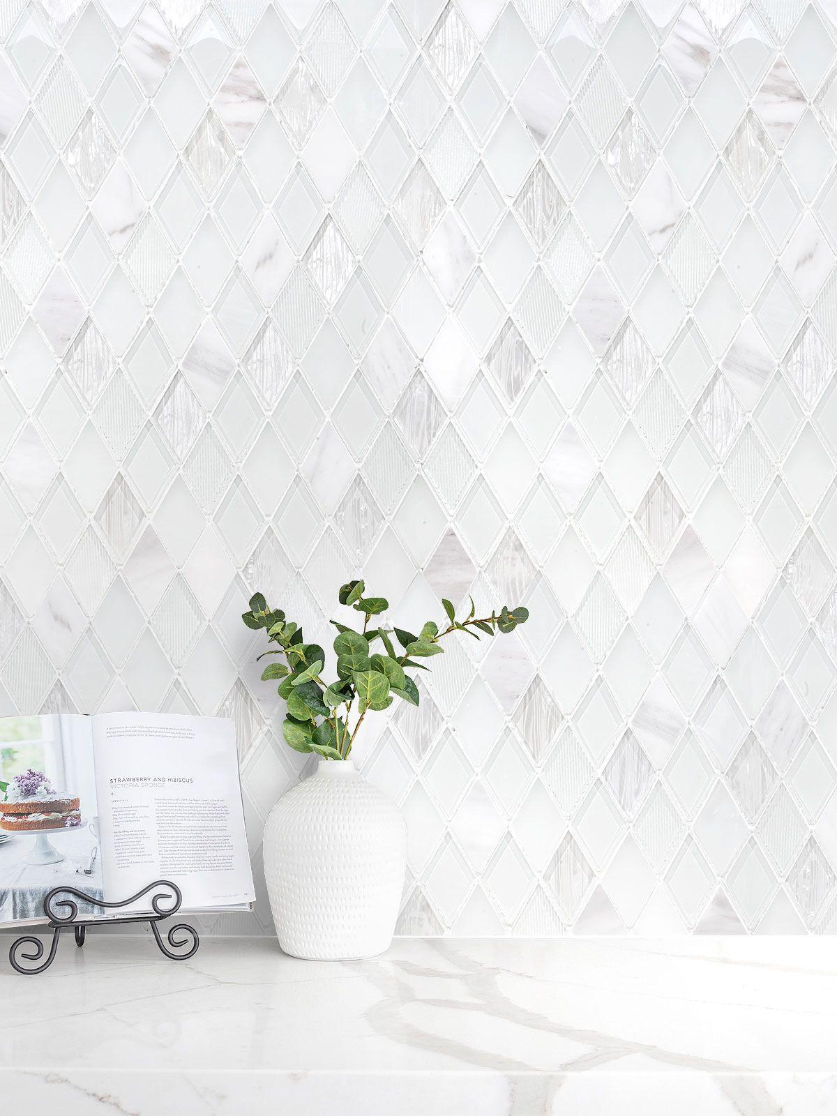 The elegant glass and marble mix rhomboid design backsplash tile from Backsplash.com