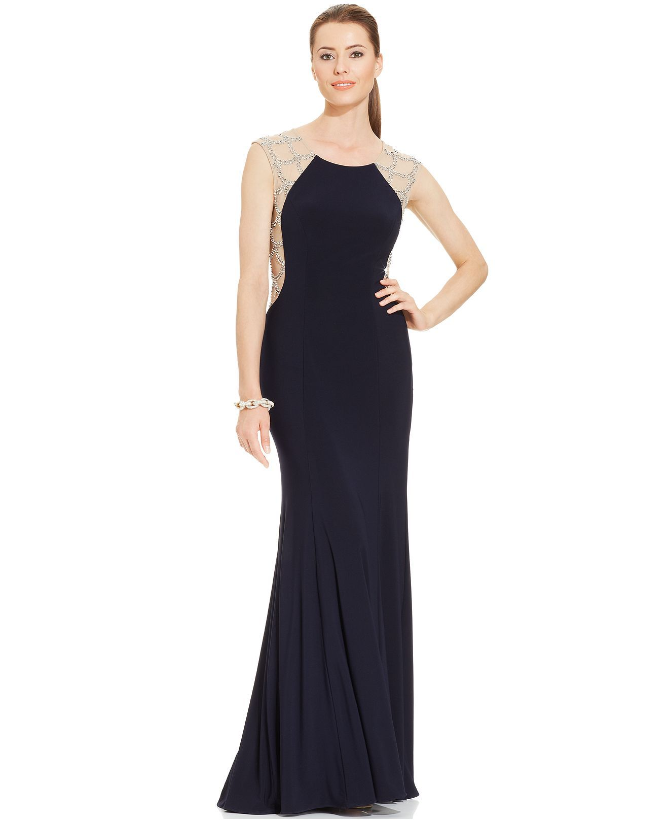 Xscape capsleeve scalloped jewelback gown dresses women