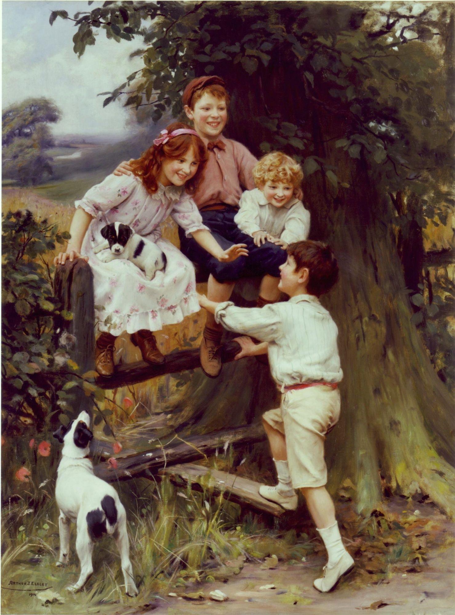 Arthur Elsley | Summer Day, Oil on Canvas | 46 x 34 inches ( 117 x 86 cm )