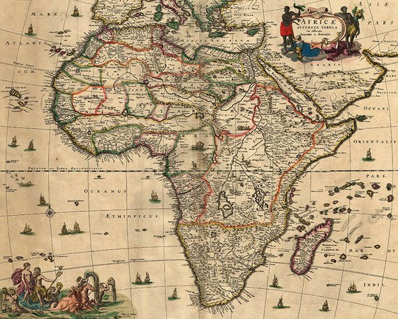 Africa map old vintage download from 17th century, instantly