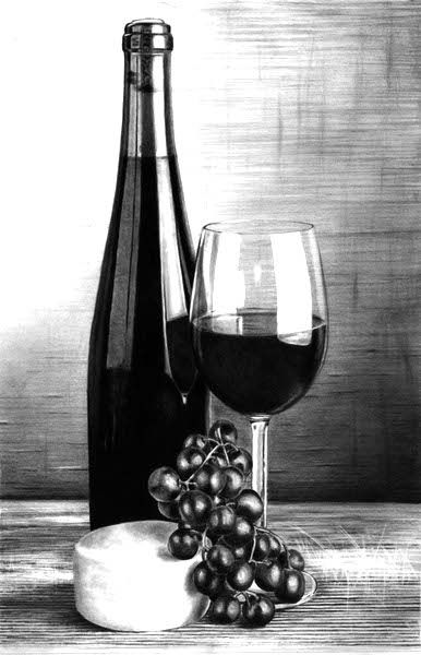 Wine & Cheese | Pencil & Ink Drawing in 2019 | Pencil