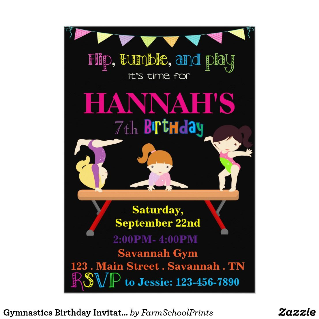Gymnastics birthday invitation gymnastics birthday invitation invite your guests to flip tumble and play in honor of stopboris Gallery