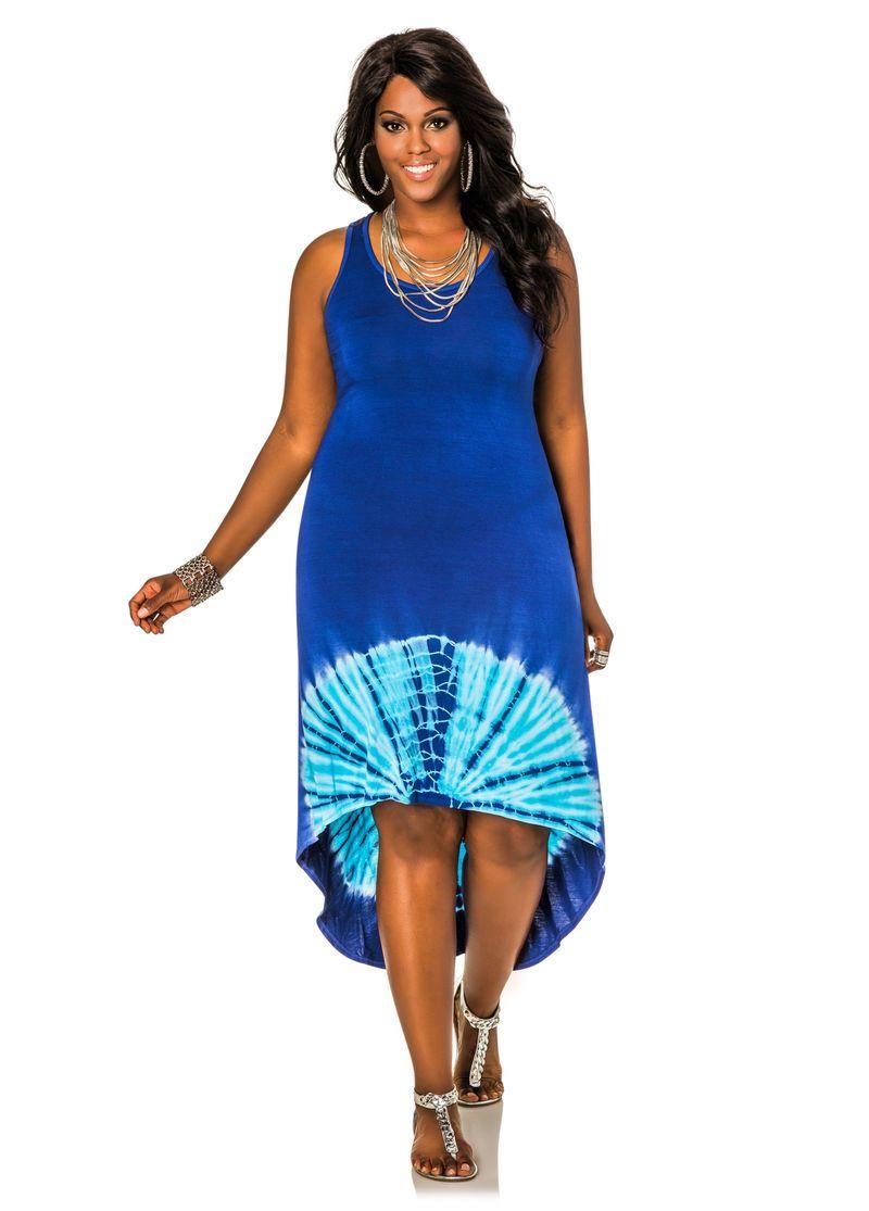 Hi-Lo Tie Dye Dress-Plus Size Dresses-Ashley Stewart