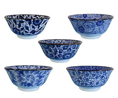 Set di 5 ciotole in porcellana Japan blu/bianco, D 15 cm