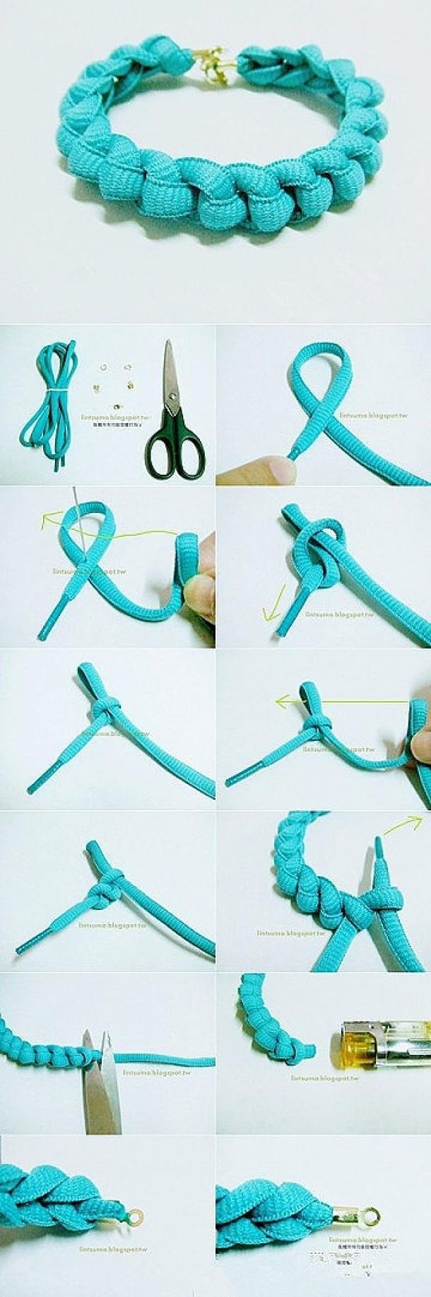 knutselen | Armband van veters! leuk ook met bedeltjes eraan Door jentill