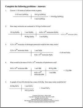Free Mole Practice Worksheet: Converting between mass moles ...