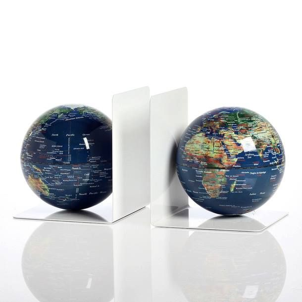 This Pair Of Magnetized Bookends Feature Two Globes We