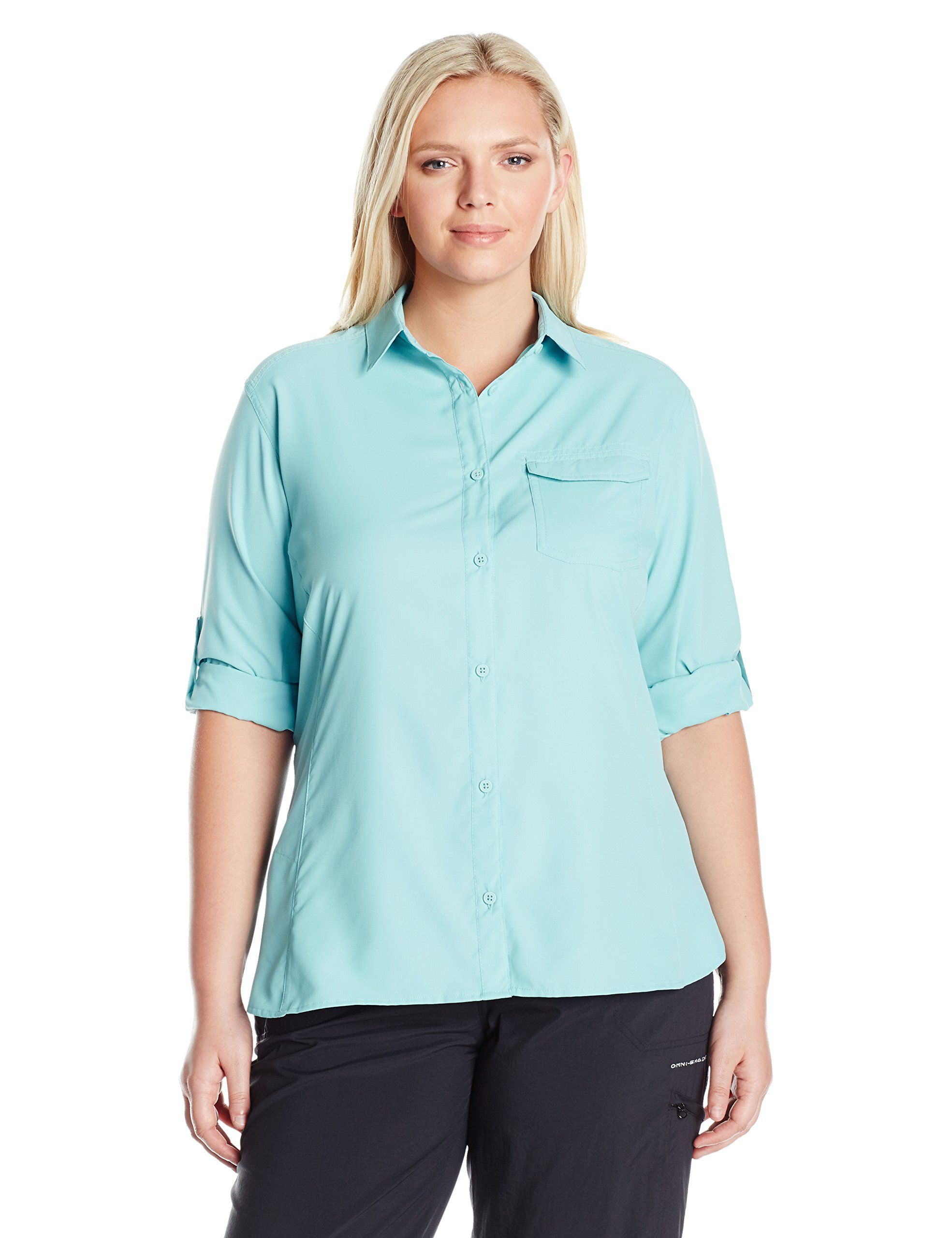 a21070665ff Columbia Women's Plus East Ridge Ii Long Sleeve Shirt, Iceberg, 1X. Omni-