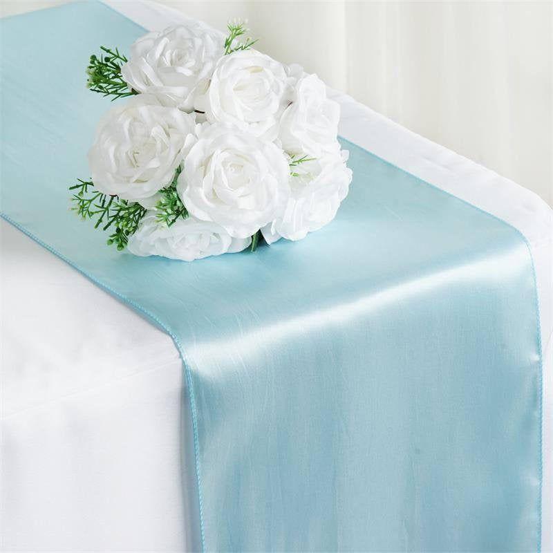 Blue Satin Table Runner Blue Wedding Table Runner 12x108 Etsy Table Runners Wedding Round Table Decor Table Runners