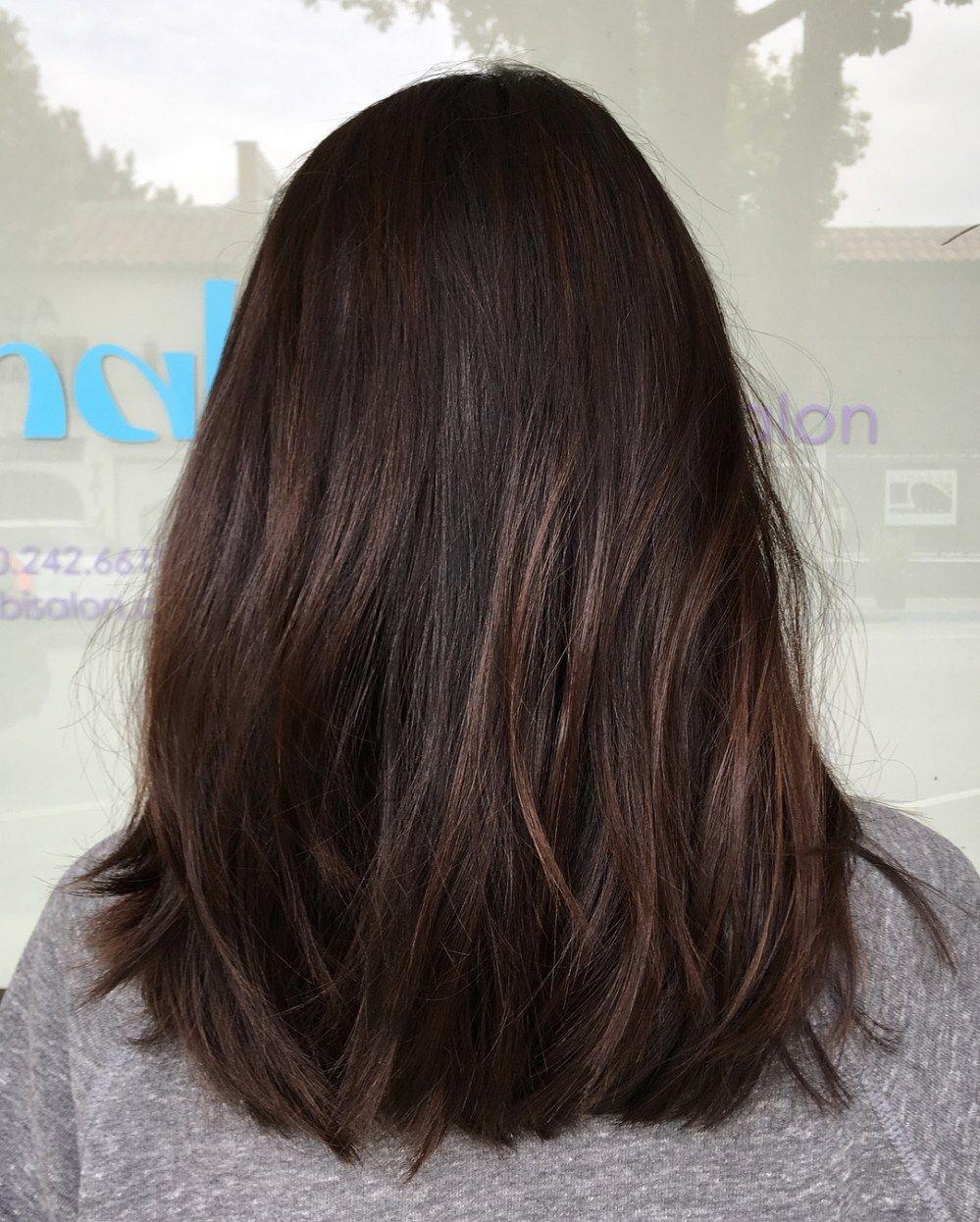 60 Hairstyles Featuring Dark Brown Hair With Highlights Brown Straight Hair Hair Styles Straight Brunette Hair