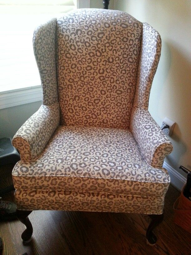 Snow Leopard On Wing Chair Wing Chair Chair Wingback Chair