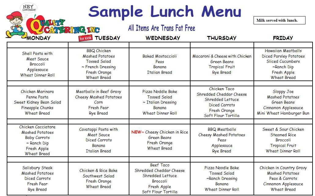 childcare lunch menu - Google Search Menus Pinterest Lunch