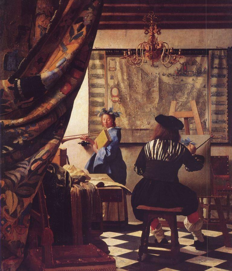 Genremalerei vermeer  Jan Vermeer van Delft. Die Allegorie der Malerei. Um 1666, Öl auf ...
