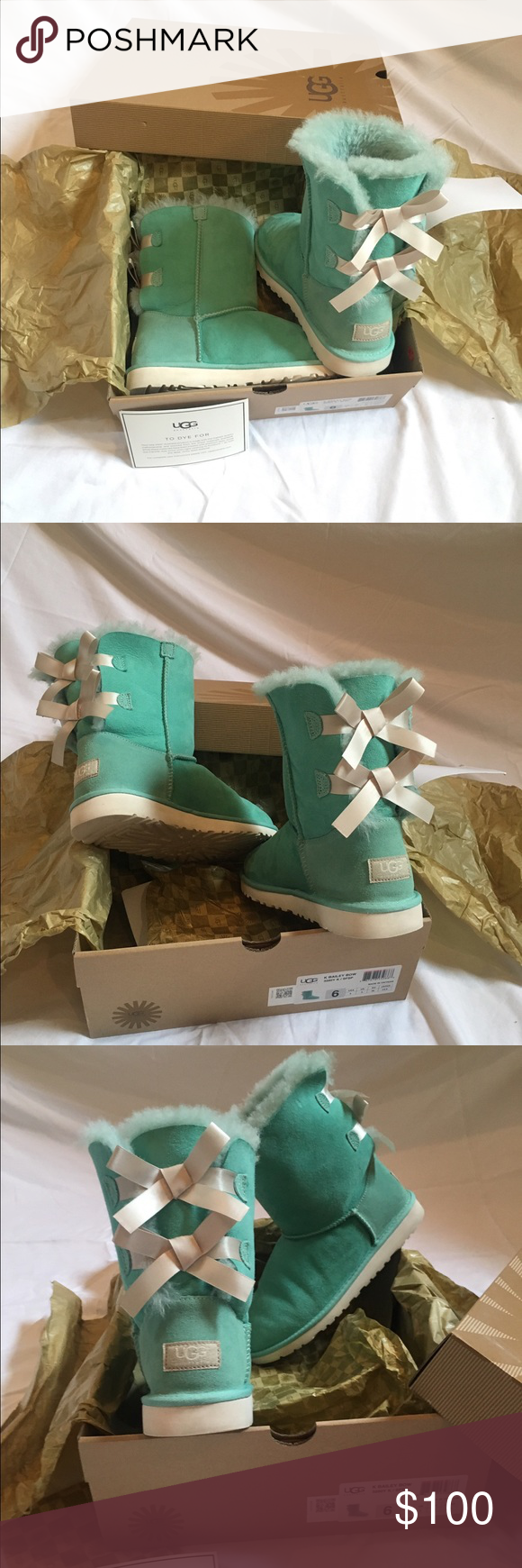 57f7df8a166 Tiffany blue colored Bailey bow UGGS Only worn 3 times!! Super loved ...