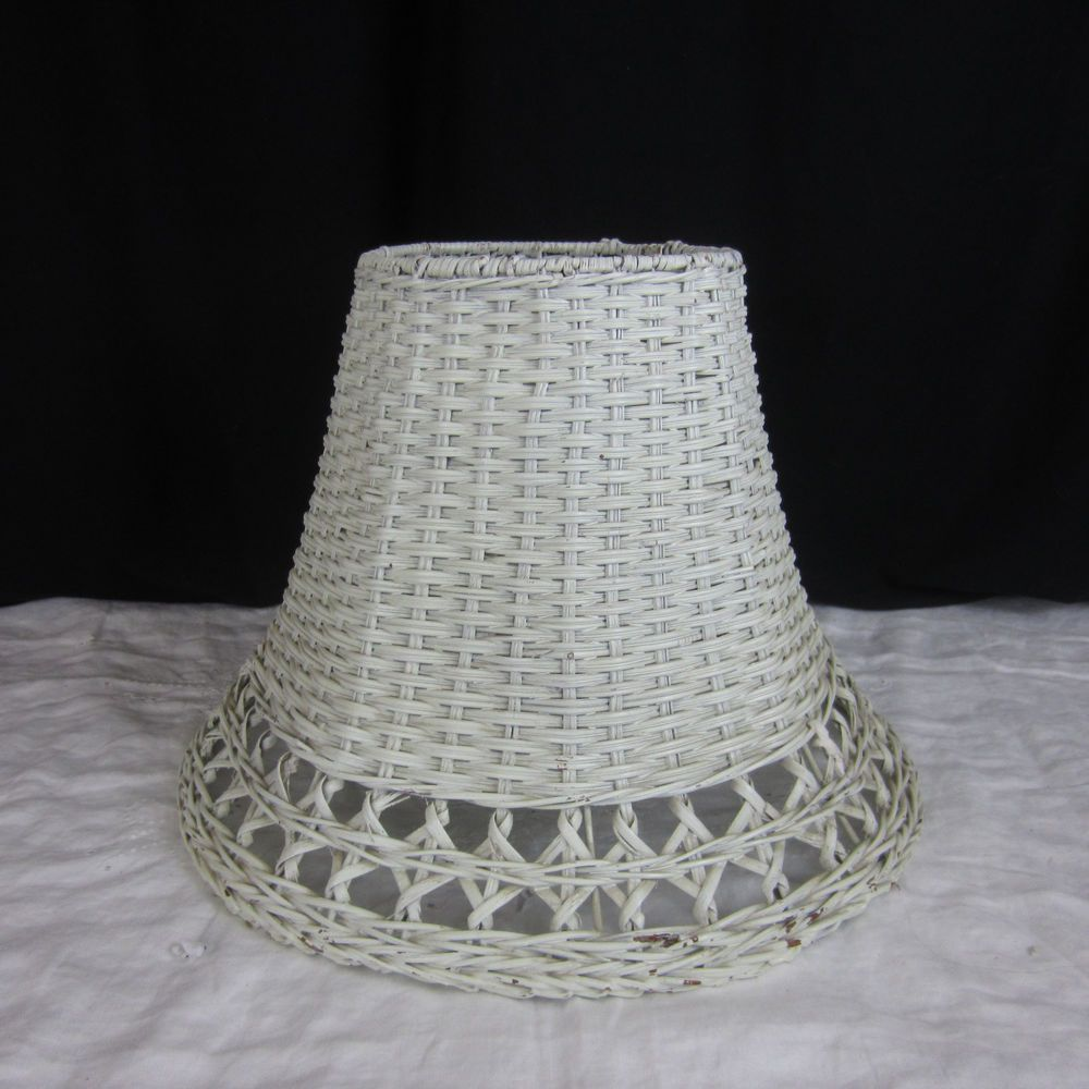 Vintage white wicker rattan lamp shade 11 x 15 base wire frame vintage white wicker rattan lamp shade 11 x 15 base wire frame greentooth Image collections