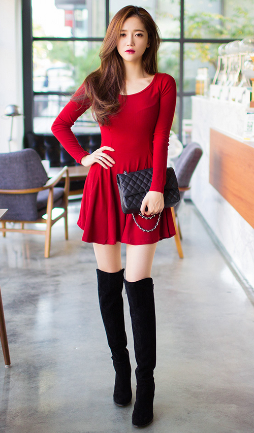 Long Sleeved Godet Dress Asian Fashion Clothes For