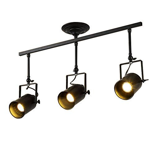 Vintage Ceiling Spot Track Light Mklot Adjustable 3light Lighting Spot Light With Cone Black Shadesdark Black Lamps Ceiling Spotlights Track Lighting Fixtures