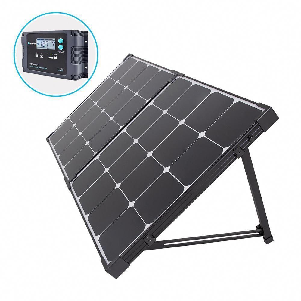 Renogy 100 Watt Eclipse Monocrystalline Portable Suitcase Off Grid Solar Power Kit With Voyager Waterproof Char In 2020 Solar Power Kits Solar Panels Best Solar Panels