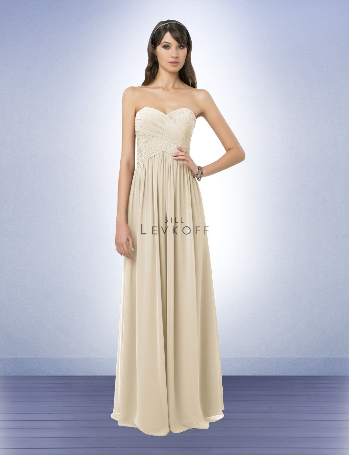 63896112ab2 Champagne Bridesmaid Dress Bill Levkoff Bridesmaid Dresses