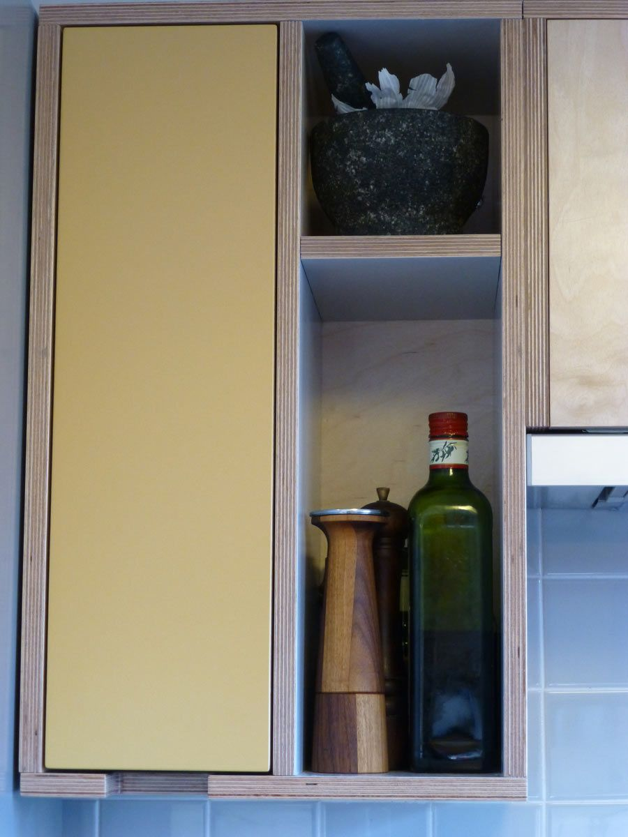 wall cabinet with inset door in spray painted birch ply | Кухни ...