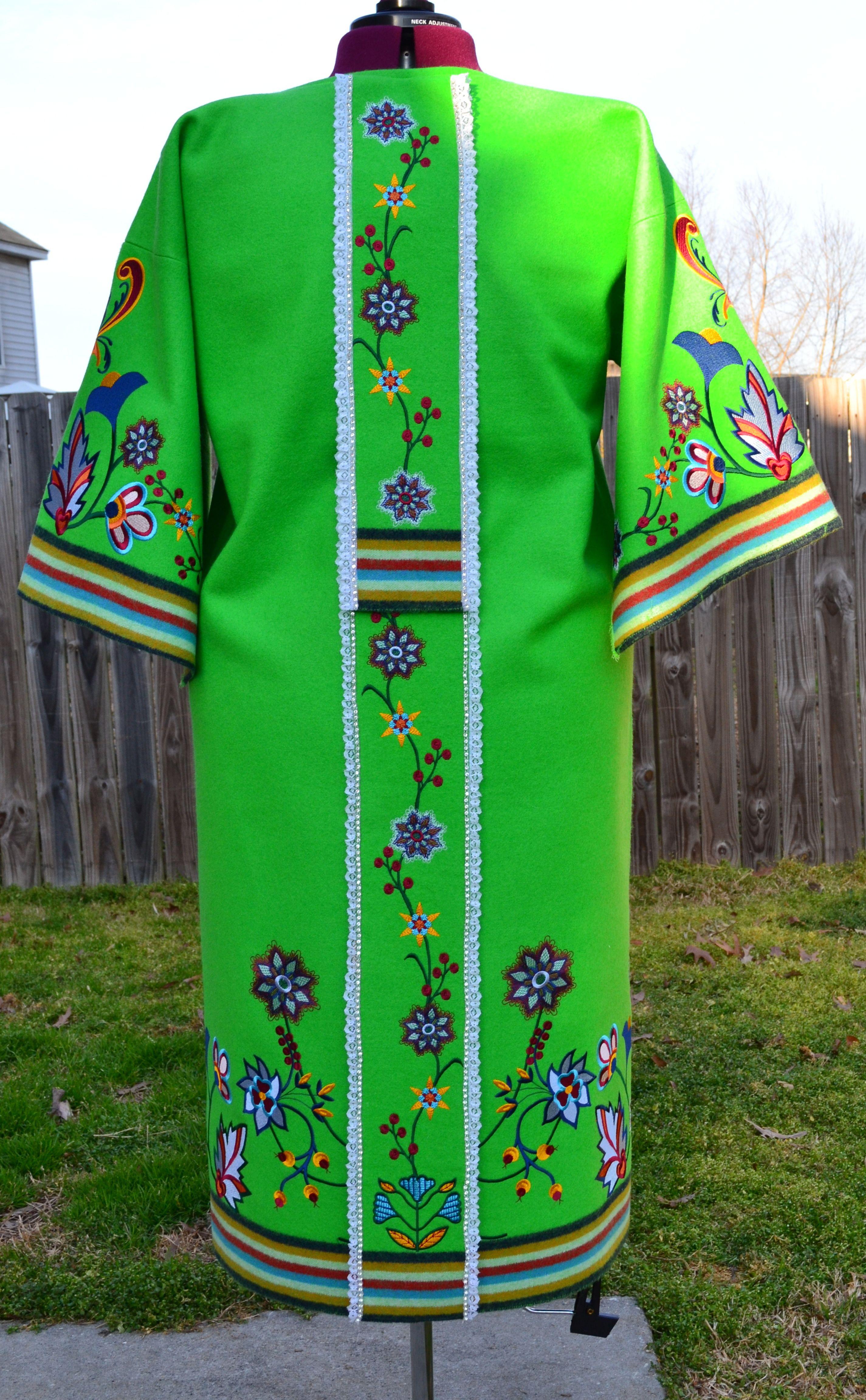 Machine Embroidered Southern Cloth Powwow Regalia: Dress, Shawl, Purse & Trailer