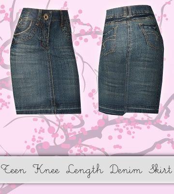 hrekkjavaka's Teen Knee length Denim Skirt | outfit ideas ...