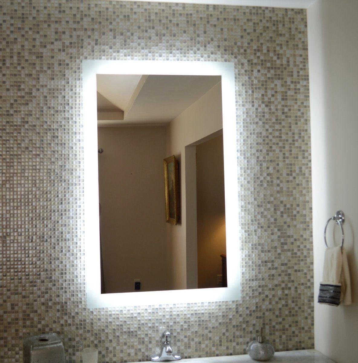 Side Lighted Led Bathroom Vanity Mirror 28 Wide X 44 Tall
