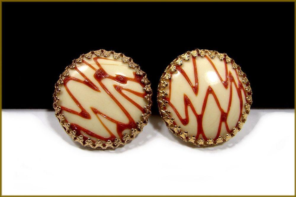 Beautiful Vintage Clip Earrings Signed Hobe Nice