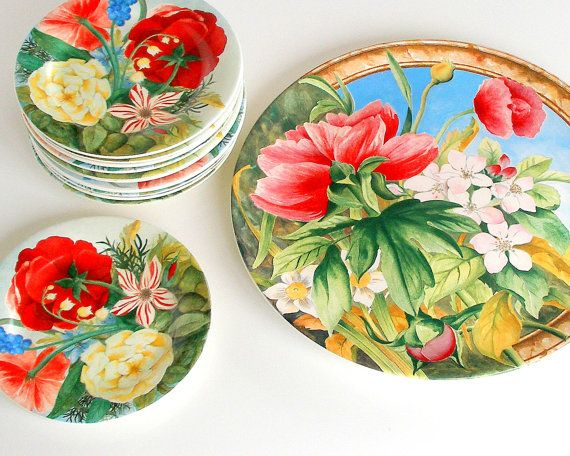 REDUCED! Vintage Cake Serving Plates Set Gien France Volupte' French Country Garden