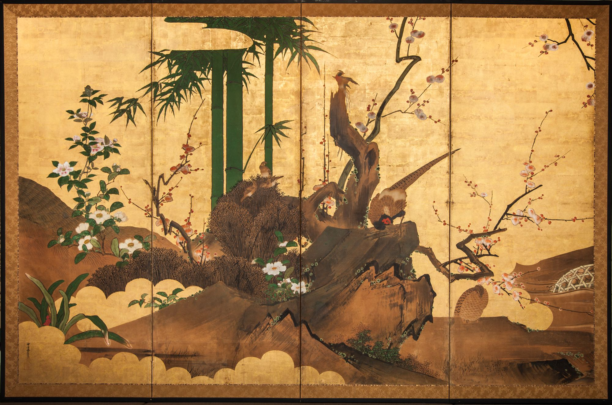 Antique Japanese Screens | Japanese Screen: Pheasant, Birds and ...