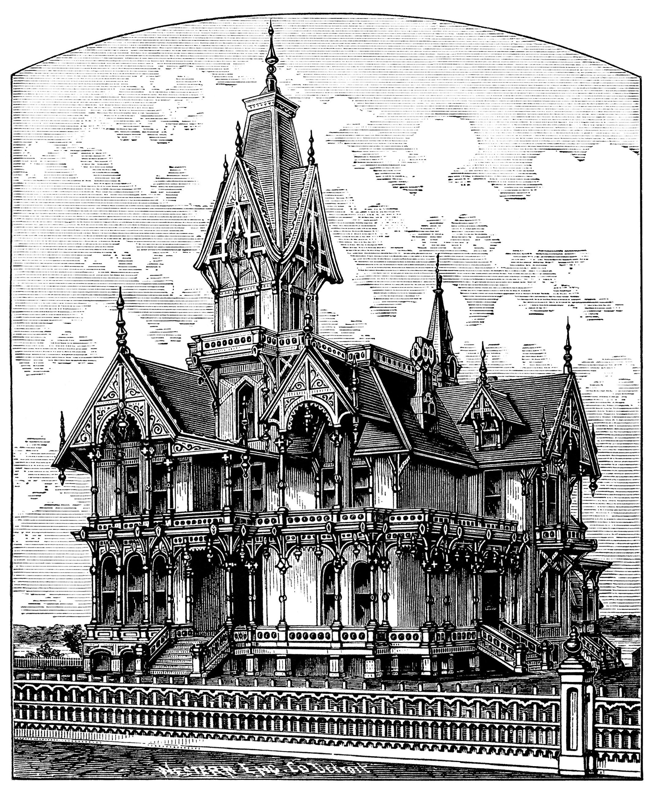 Victorian Home Clip Art Haunted House Illustration