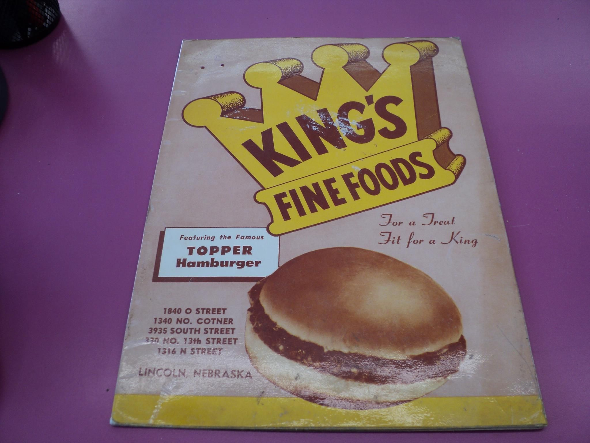 Kings Food Host Menu This Menu Is From The Lincoln Ne Locations It S A Safe Bet Those Locations Had Tables With Phones And Ser King Food Food Vintage Recipes