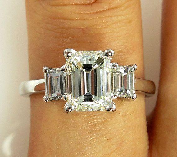 2.10Ct Emerald Cut Green Emerald Diamond Engagement Ring 14K Yellow Gold Finish