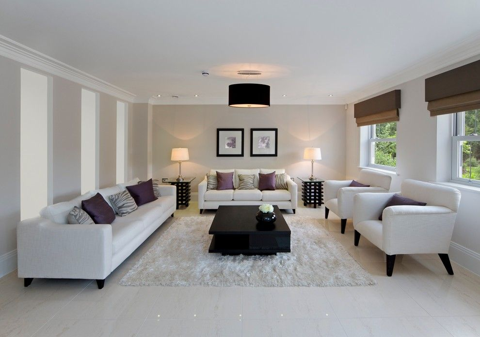 Beau Good Looking Drum Lamp Shades In Living Room Contemporary With Living Room  Setting Next To White Couch Alongside Brown And Cream Scheme And Porcelain  Tile ...