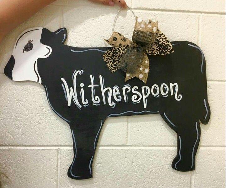 Cow Wooden Door Hanger / Personalized Wooden Door Hanger / Craft Night Out located in Statesville Nc