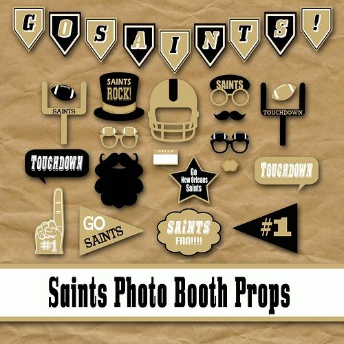 Saints Football Photo Booth Props And Party Decorations With