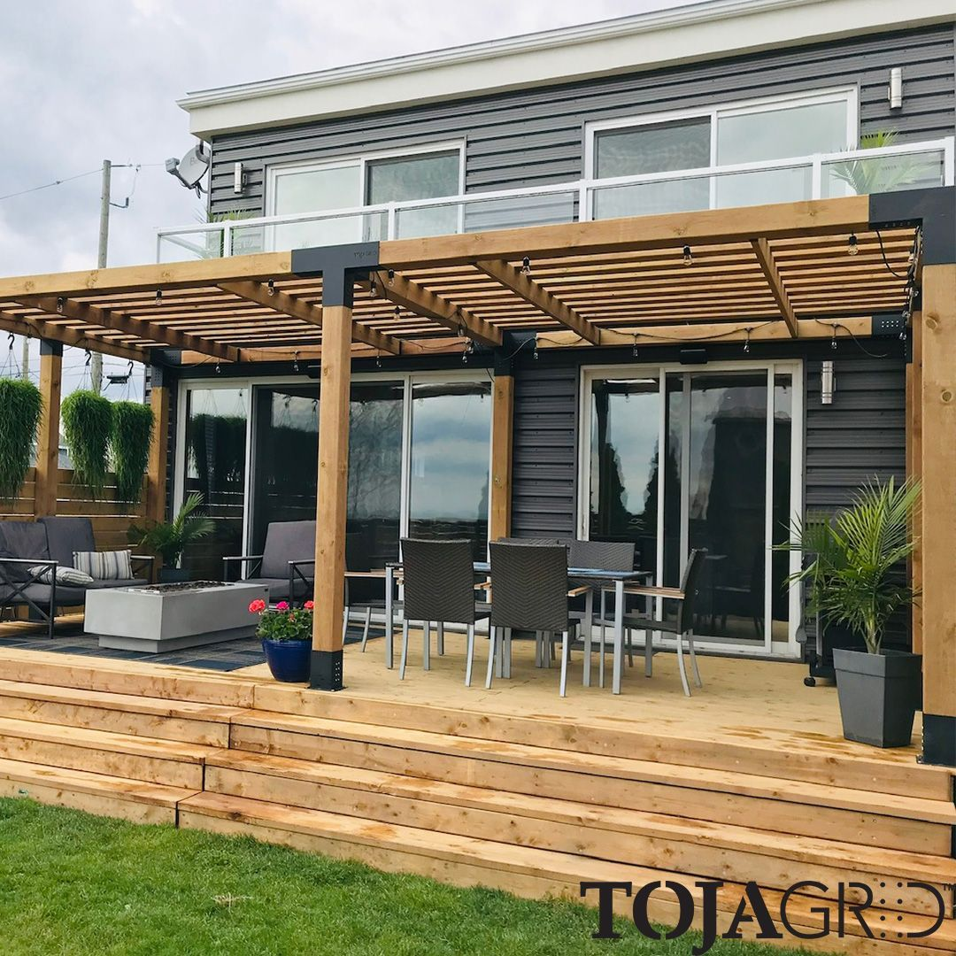 Double Pergola Kit With 2 Shade Sails For 6x6 Wood Posts - Pergola Over Terrasse