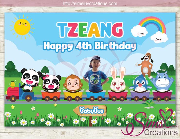 Babybus Printable Party Backdrop Banner Baby Panda Birthday Poster Birthday Poster Panda Birthday Panda Party