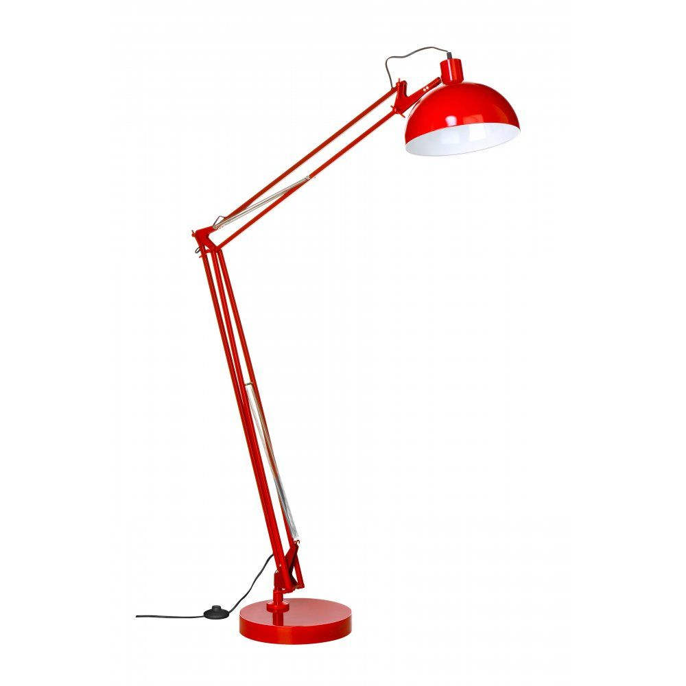 Fusion Living Industrial Style Red Adjustable Floor Lamp | THINK ...