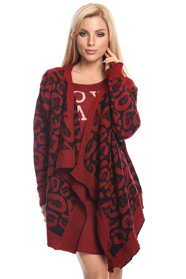 red black cardigan#leopard print cardigan#open front cardigan#long ...