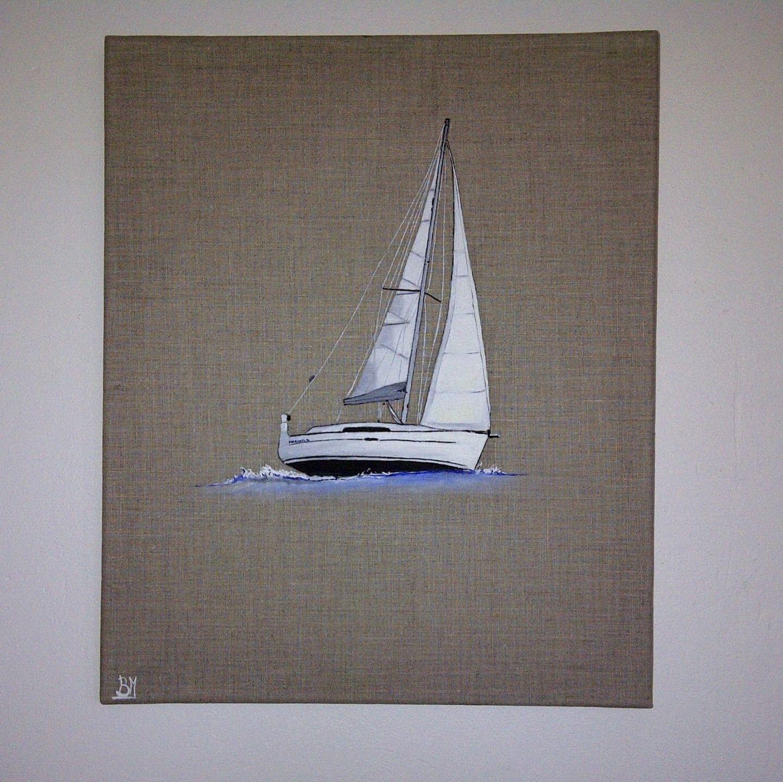 le voilier s rie mer d co design peinture l 39 huile sur toile en lin d corations murales par. Black Bedroom Furniture Sets. Home Design Ideas