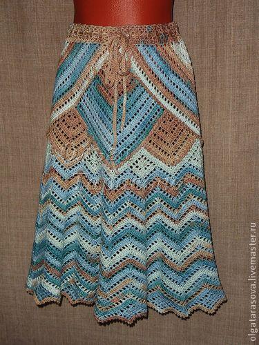 """Купить Юбочка авторская """"Зигзаг"""" - юбка вязаная, юбка крючком, юбка зиг-заг"""