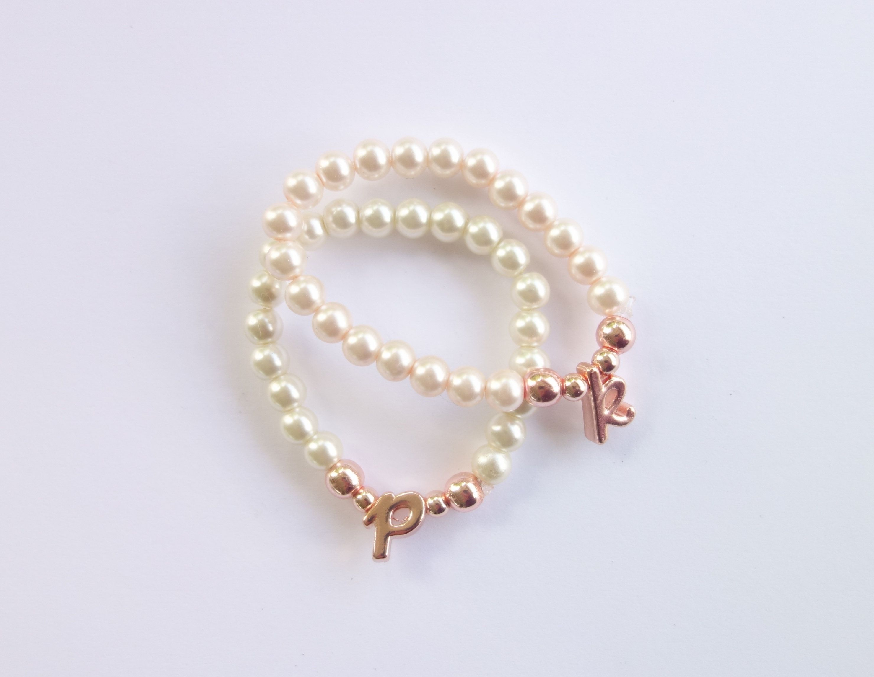 Pearl Rose Gold Letter Toddler Bracelet Beaded Initial Stretch Baby By After7jewelry