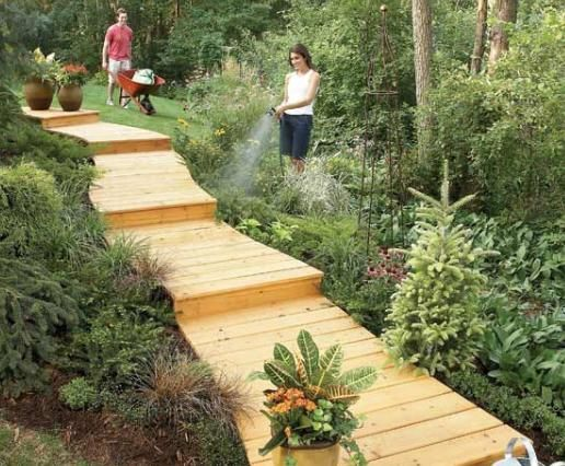 How To Build A Wooden Boardwalk A Wooden Walkway Makes An Attractive And  Inexpensive Garden Path, Is Simpler And Less Backbreaking To Make Than A  Stone Or ... Good Ideas