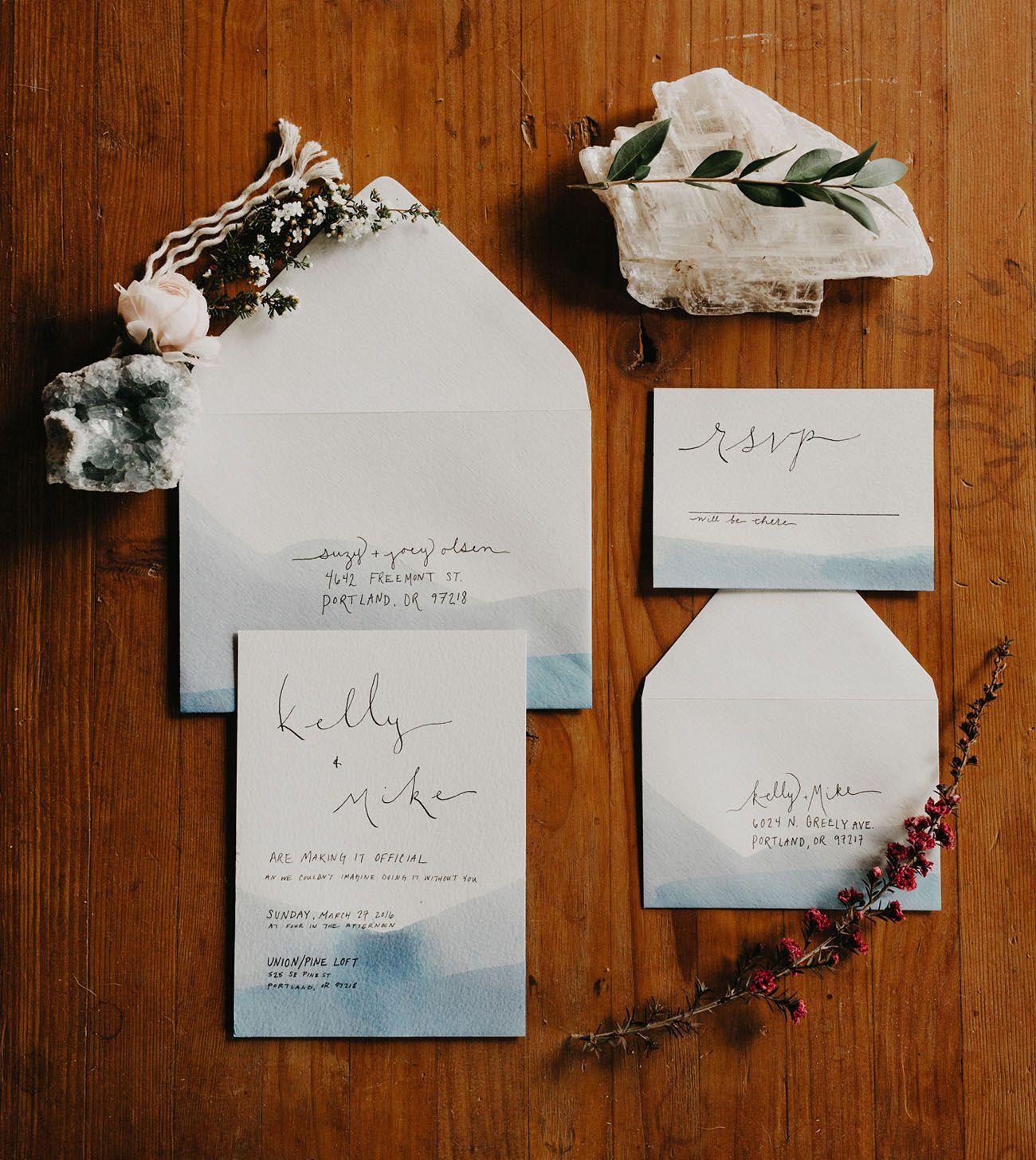 Summer Wedding Ideas Watercolor Invitation