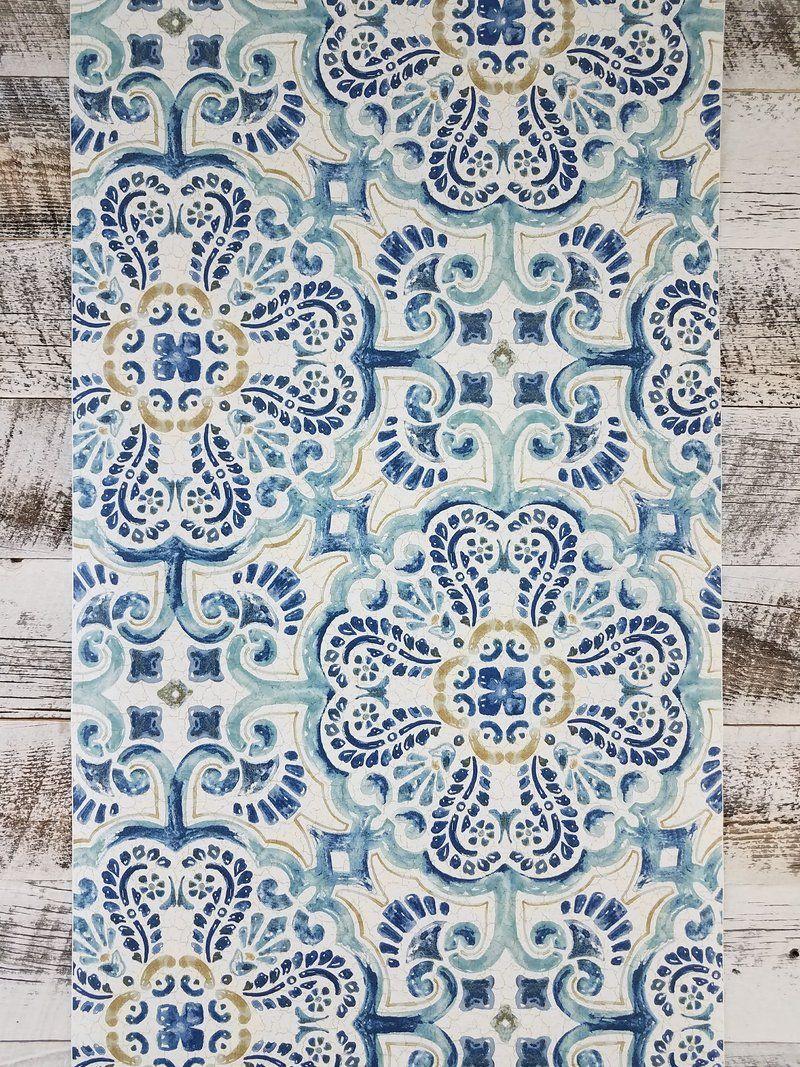 Wallpops Blue Florentine Medallion Tile Wallpaper Tile Wallpaper Peel And Stick Wallpaper Mid Century Modern Wallpaper